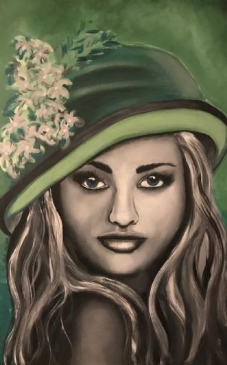 Hatte damen by Maj-Britt Olesen | maleri
