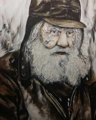 Hardy, portræt af en hjemløs. afKate Piil