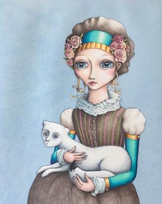 Kusine med hermelin by Janna Espenhain | tegning