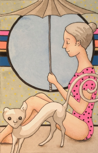 Pige med parasol by Janna Espenhain | tegning