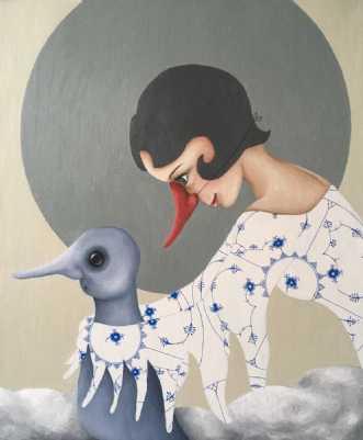 Porcelænsfjer a la .. by Janna Espenhain | maleri