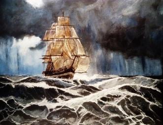 Skib i uvejr by Flemming Ilnæs | unikaramme