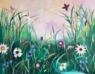 Flowery Dreamscape  by Anne Krøjer | maleri