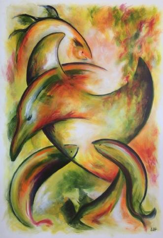 Fiskerkonens værk by Lisbeth Christensen | maleri