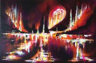Nattens lys på fjel.. by Lisbeth Christensen | maleri