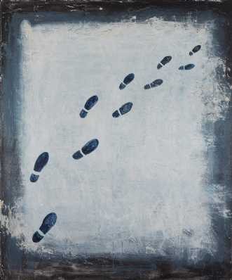 Moderne kunst af footsteps in the snow (where are they going) af Katarina Nielsen