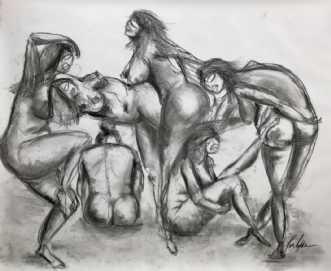 Vi er alle født nøg.. by Kira Lykke | tegning