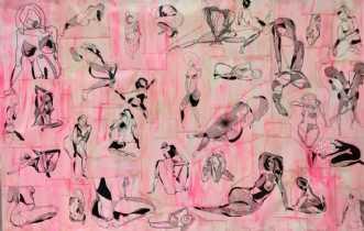 Kvinder i pink by Kira Lykke | tegning
