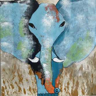 Blue elephant by Lene Lund-Jensen | maleri