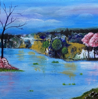 The mysterious lake by Lene Lund-Jensen | maleri