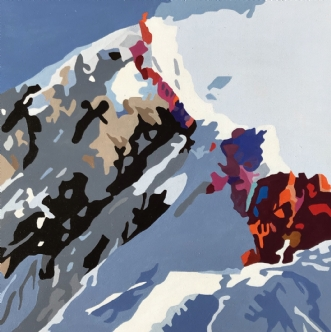 Everest - I kø by Vibeke Ringholm | maleri