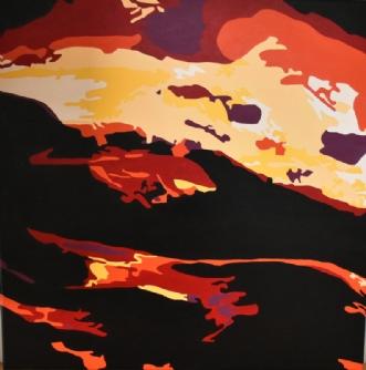 Vulkanudbrud by Vibeke Ringholm | maleri