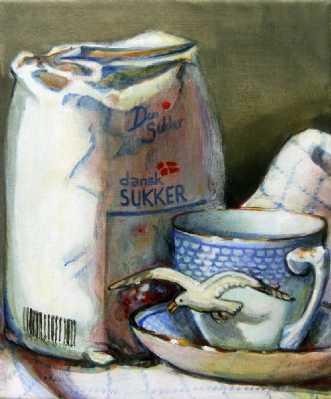 Måge og koppen by Vita Bente Pedersen | maleri
