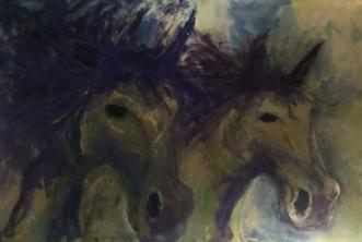 2 heste by Lisbeth Holst Gundersen | maleri