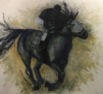Hest og rytter by Lisbeth Holst Gundersen | maleri