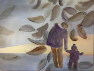 En tur med mor i sk.. by Pernille Starnø | maleri