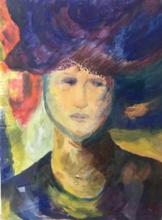 Dame med hat by Pernille Starnø | maleri