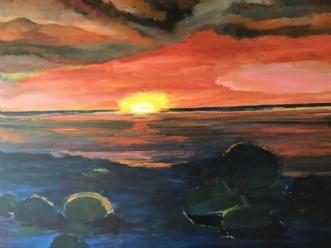 Solen er så rød  by Lis Severin | maleri