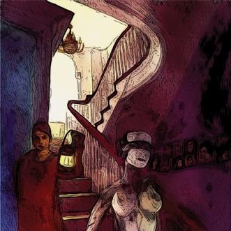 Lys ved trappen by Caroline Scheibel | tegning