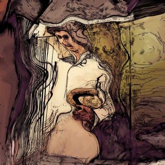 Sommernat med hat by Caroline Scheibel | tegning