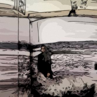 Kvinde ved stranden.. by Caroline Scheibel | tegning
