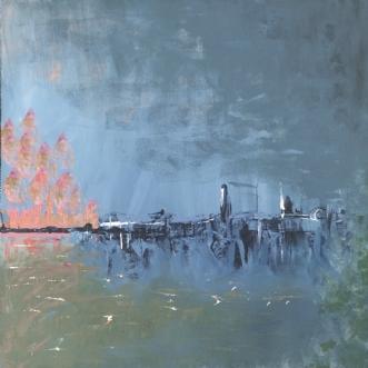 Byen ved havet by Merete Bilde Toft Movang | maleri