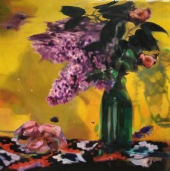 Syrener på gul bagg.. by Lotte Lemor | maleri