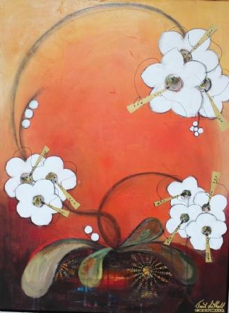 Lun og Varm Blomste.. by Tine Lilholt | maleri