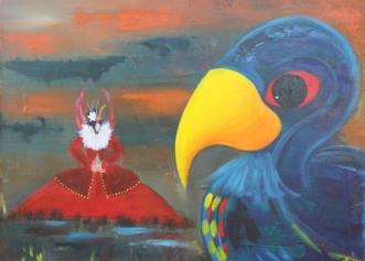 Fugl og Fe no. XVI by Tine Lilholt | maleri