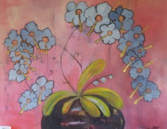 Lyserød Blomsterblæ.. by Tine Lilholt | maleri