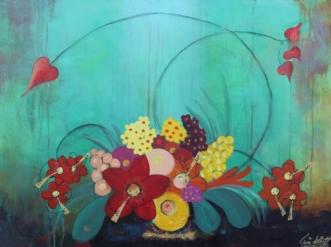 Hjertelig Grøn Blom.. by Tine Lilholt | maleri