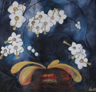 Midnatsblå Blomster.. by Tine Lilholt | maleri