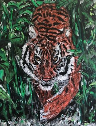 TIGER I JUNGLEN by Lenea Væver | maleri