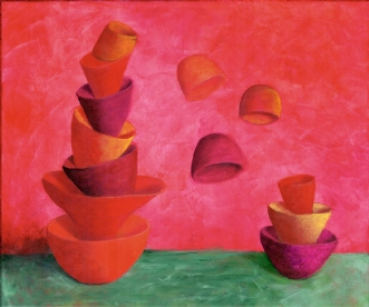 Balance, rød  (Bal.. by Lene Weiss | maleri