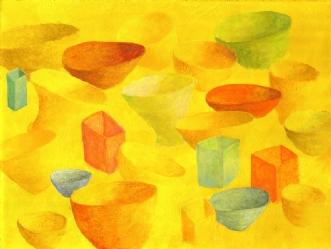 Svævende skåle  (Fl.. by Lene Weiss | maleri