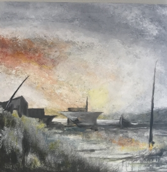 SHIPS by Kim Weber Priesum | maleri