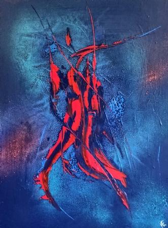 Red On Blue by Kern Ekstrøm   maleri