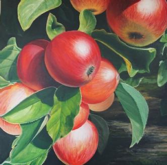 Saftige æbler by Sigrid Hedegaard Laursen | maleri