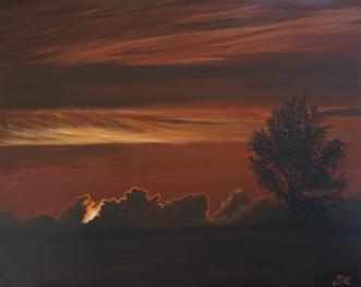 Solnedgang på Pelle.. by Sigrid Hedegaard Laursen | maleri