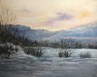 Vintersolnedgang by Sigrid Hedegaard Laursen | maleri