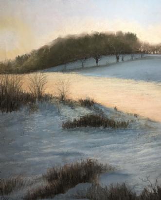 En solstribe i snee.. by Sigrid Hedegaard Laursen | maleri