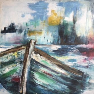 Forfalden Skude II by Karina Thomas | maleri