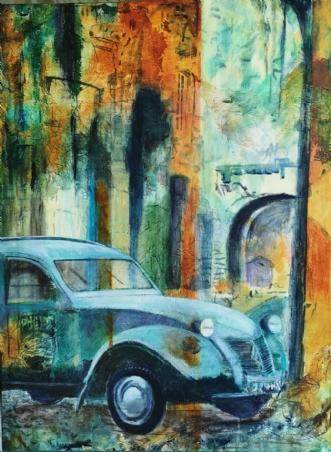Citroën i Rom by Birgit Brandt | maleri