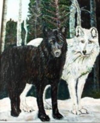 Sort og hvid ulv by Samantha Lee Lauridsen | maleri