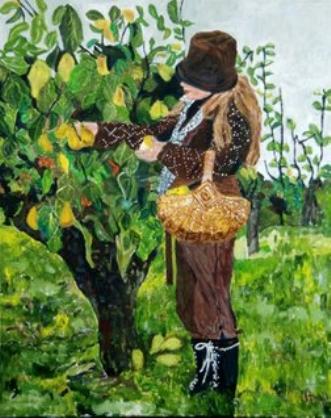 Pige under pæretræ by Samantha Lee Lauridsen | maleri