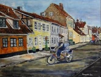 En gade i Helsingør by Samantha Lee Lauridsen | maleri