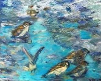 Vinterbad by Yvonne Wiese | maleri
