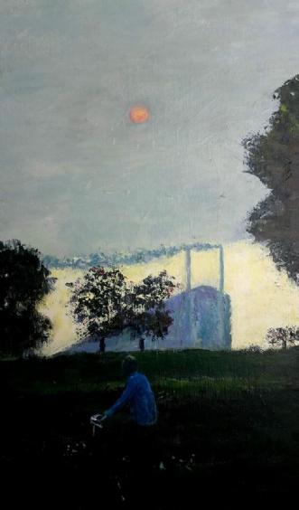 Rød sol  by Yvonne Wiese | maleri