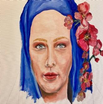 Pigen og orkideen by Peter Fuglsang | maleri