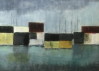 Havneliv 3 by Susanne Ruge | maleri